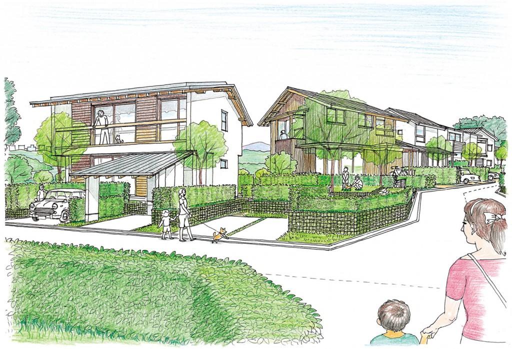 ヴァンガード・ハウス完成予想図。左が松澤穣設計、右が堀部安嗣設計による。